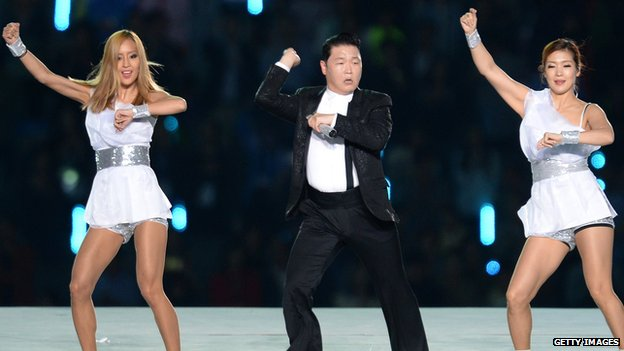 Psy dancing to Gangnam Style