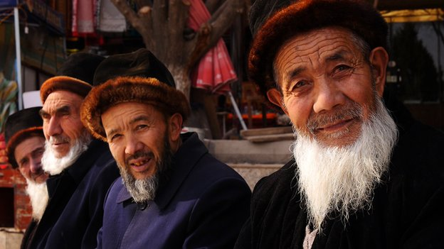 Bearded Uighur men in Kashgar