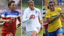 Abby Wambach, (USA), Kelly Smith (England) & Marta (Brazil)