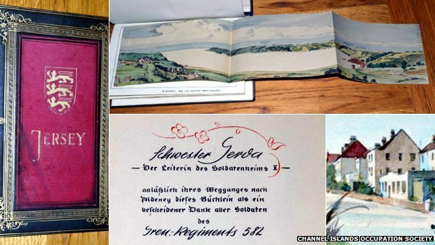 The book features water colour paintings of Jersey