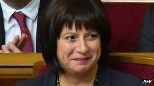 New Ukrainian Finance Minister Natalie Jaresko at parliament session in Kiev 2 Dec 2014