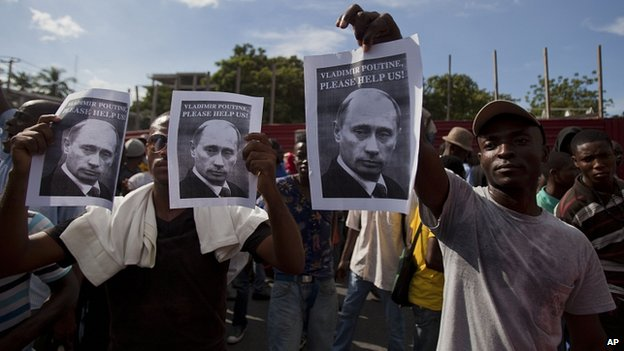 Haiti protesters call on President Putin for help. 5 Dec 2014