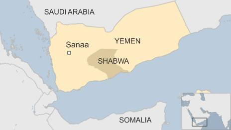 BBC map of Yemen, showing Shabwa