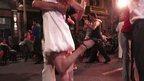 Woman kicking up heel