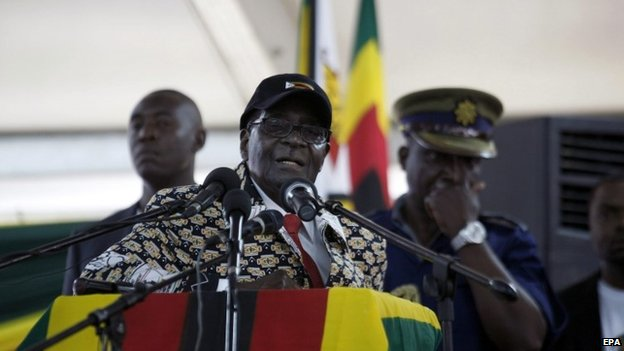 A picture dated 06 December 2014 shows Zimbabwean President Robert Mugabe addressing delegates during the last day of the Zanu PF 6th people's congress in Harare, Zimbabwe