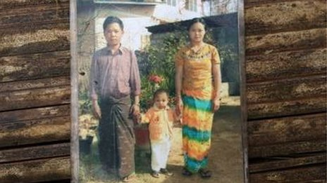 An old photograph showing Khin Khin Oo's family