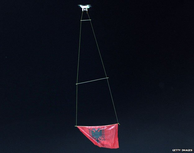 Drone with Albanian flag