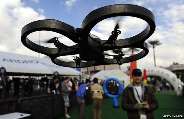 An iPhone is used to control a Parrot AR.Drone at the 2011 International Consumer Electronics Show in Las Vegas