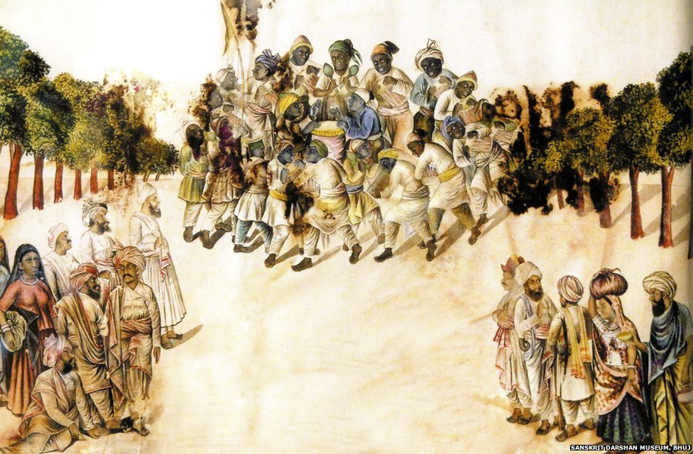 This 1887 painting from Kutch portrays the Sidi Damal, a religious, ecstatic dance emblematic of the Muslim Sidis, who were brought to India from East Africa