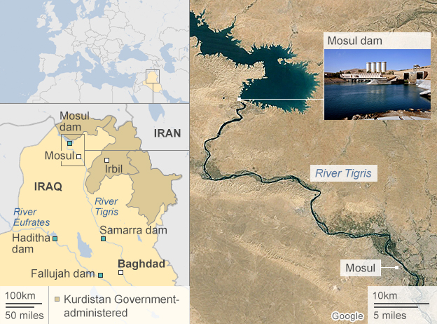 Map of Mosul Dam, Iraq