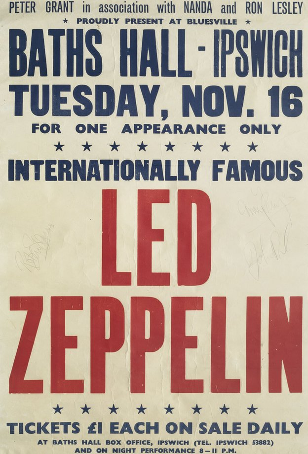 Led Zeppelin poster for Ipswich gig