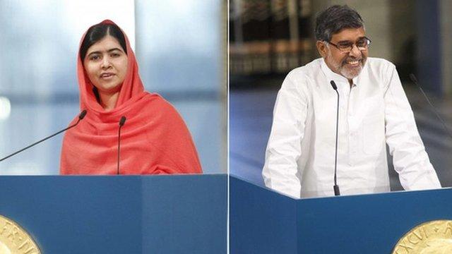 Nobel Peace Prize winners Malala Yousafzai Kailash Satyarthi
