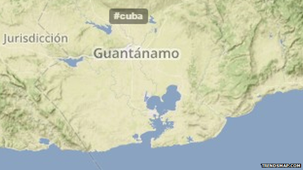 In Cuba, the internet is highly restricted - something that is clearly shown by the lack of tweets of any sort around Guantanamo Bay.