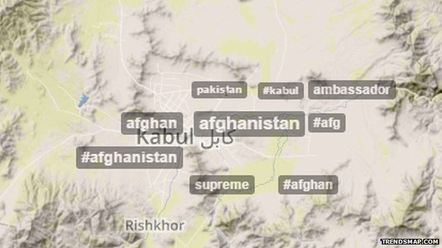 Many tweeters in Kabul are expats - as shown by the tweets in English. They aren't talking much about #torturereport either.