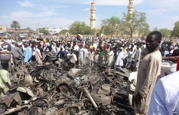 Aftermath of double suicide bombing near the central mosque in northern Nigeria's largest city, Kano (29 November 2011)