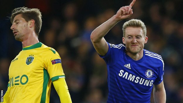 Andre Schurrle doubled Chelsea's lead on 16 minutes