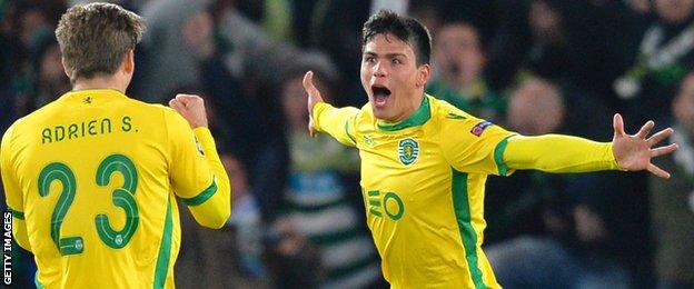 Jonathan Silva celebrates scoring for Sporting Lisbon
