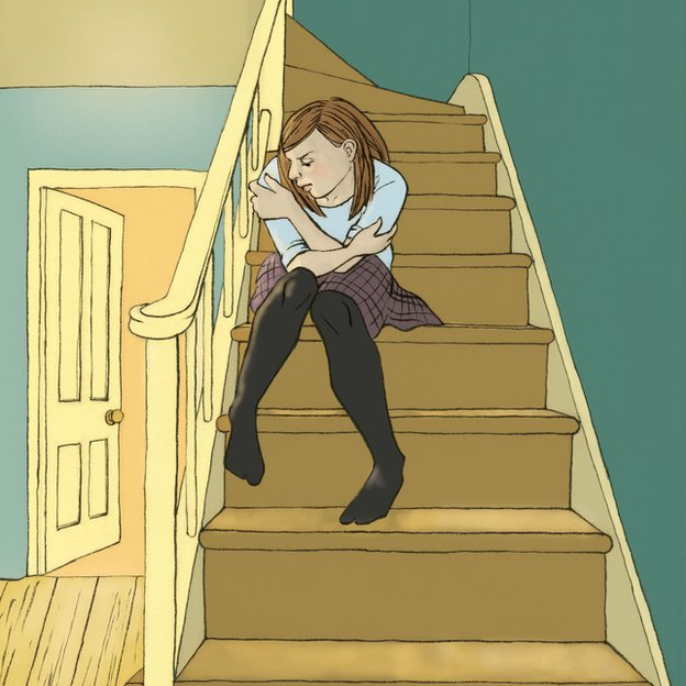 The female character sitting on the stairs