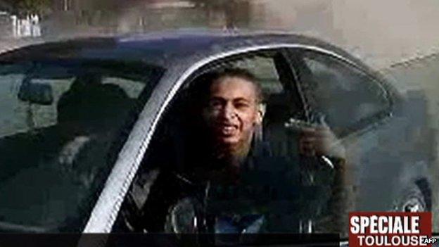 Screen grab of Mohamed Merah from French TV