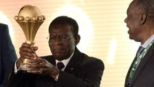 Equatorial Guinea's President Teodoro Obiang with the Africa Cup of Nations trophy