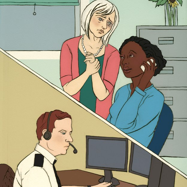 The mother character with a woman who is on the phone to the police