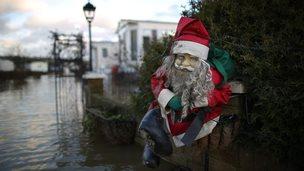Santa and flooded caravans