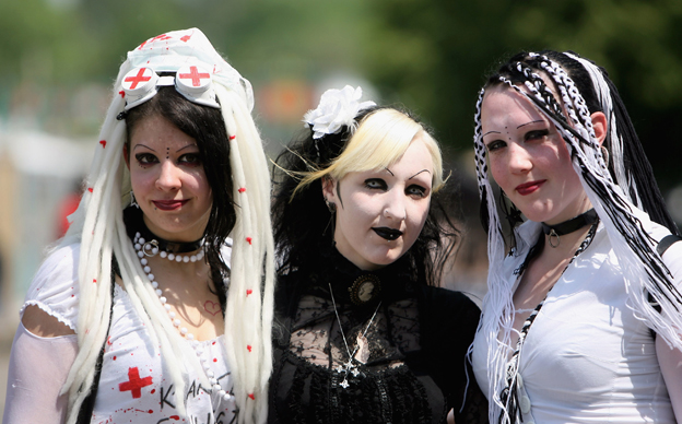 German goth girls at a festival