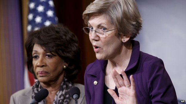 Senator Elizabeth Warren a member of the Senate Banking Committee, right, and Rep. Maxine Waters, D-Calif., ranking member of the House Financial Services Committee, express their outrage to reporters 10 December 2014