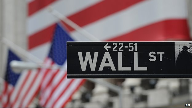 Wall Street sign in New York on 16 September 2008