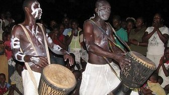The Labadi Warriors performing for a music video in Ghana