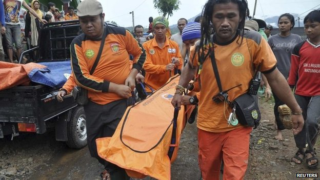 The body of a landslide victim being carried in Indonesia