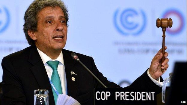 Peru's environment minister, Manuel Pulgar-Vidal, chairing the talks in Lima - 14 December 2014
