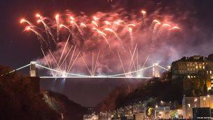 Celebration fireworks over Bristol's Clifton Suspension Bridge