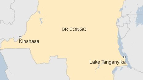 Map of DR Congo, showing Lake Tanganyika and the capital Kinshasa.