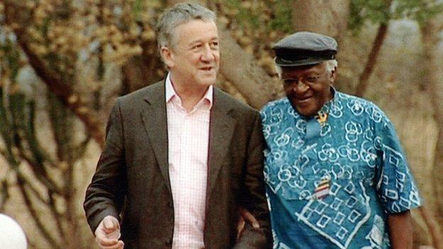 Allan Little with Desmond Tutu