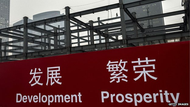 Sign in China reading 'Development Prosperity'
