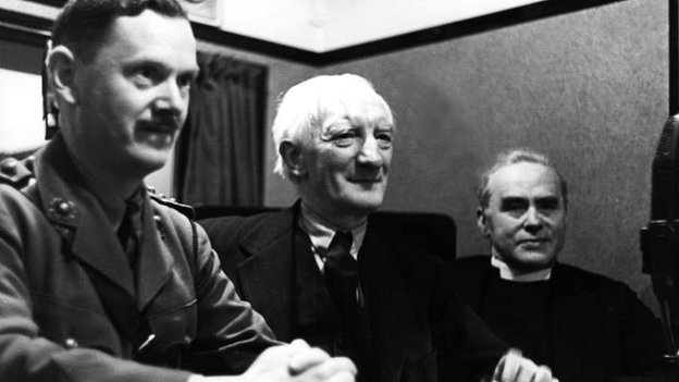 William Beveridge, with Evelyn Waugh and WR Matthews, 1942