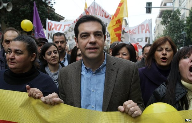 Alexis Tsipras at Athens protest in November 2014