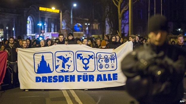 Counter-protest in Dresden. 15 Dec 2014