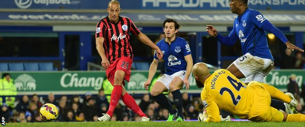 QPR striker Bobby Zamora scores against Everton