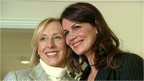 Martina Navratilova and her partner Julia Lemigova