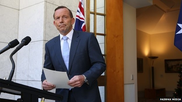 Australian Prime Minister Tony Abbott briefs the press on the governments response to the siege at the Lindt Chocolate Café
