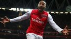 Thierry Henry of Arsenal celebrates scoring during the FA Cup Third Round match between Arsenal and Leeds United at the Emirates Stadium on January 9, 2012 in London