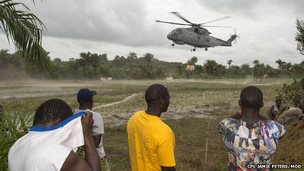 Helicopter above island off Sierra Leone