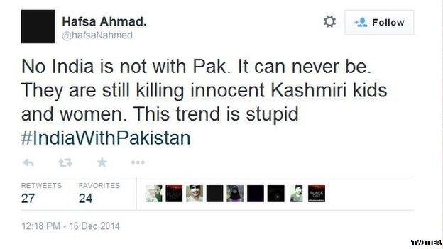 Pakistani tweet criticising hashtag