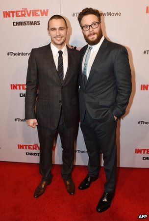 Actors James Franco (left) and Seth Rogen (right) appeared in Los Angeles, California, on 11 December 2014