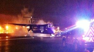 The scene at Belfast International Airport after the plane landed