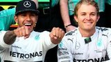 Lewis Hamilton celebrates his victory with Nico Rosberg at the United States Formula One Grand Prix