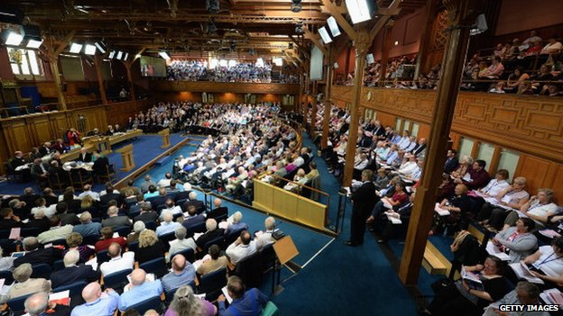 Commissioners of the Church of Scotland sit in the chamber during the debate on the issue of gay ministers in May 2013