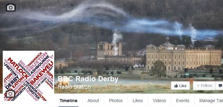 Facebook cover photo showing Chatsworth House
